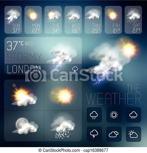 Modern Weather symbols and Interface - csp16388677
