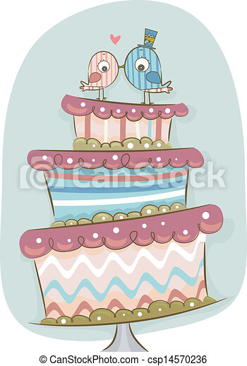 Illustration of modern wedding cake in retro colors with ...