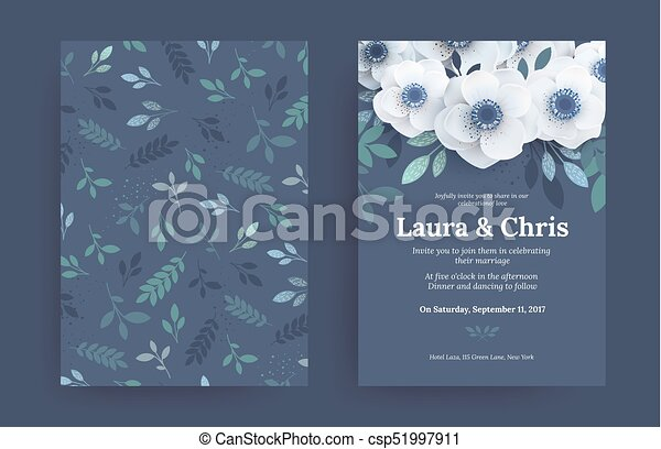 Modern wedding invitation templates. blue cover design with white ...
