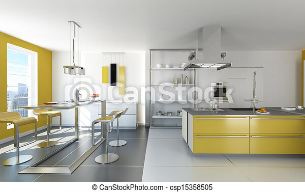 Modern white and yellow kitchen. - csp15358505