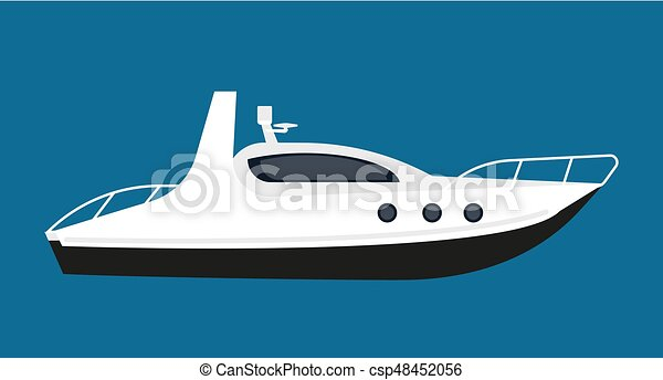 Modern white boat for short distance cruises isolated illustration - csp48452056