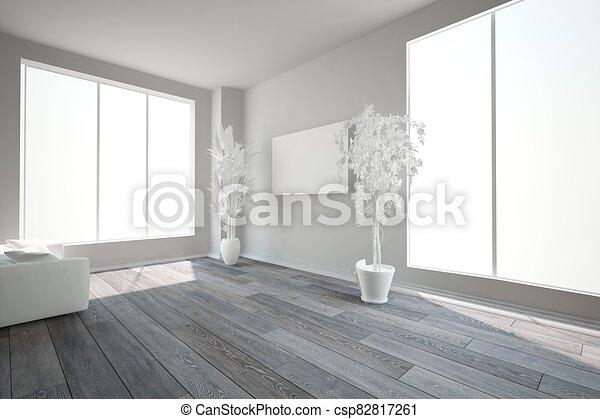 Modern White Room With Dark Floor Interior Design 3d Illustration Modern Interior Design 3d Illustration Canstock