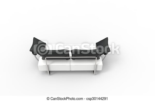 Modern White Two Seat Sofa Back Vie
