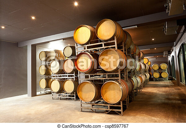 modern wine cellar with barrels - csp8597767