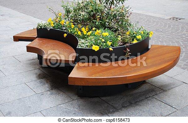 Modern wooden bench - csp6158473