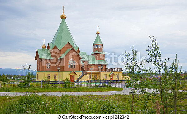 Modern wooden orthodox Christian church - csp4242342