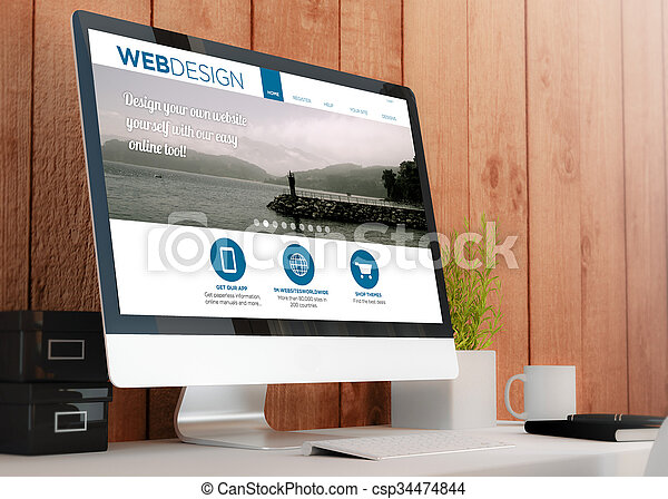 modern workspace with computer showing web design site csp34474844