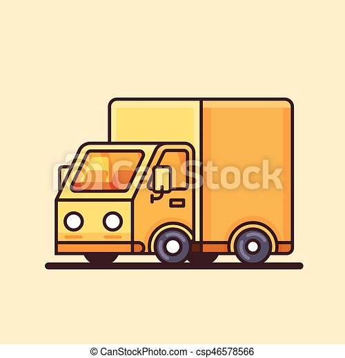 Modern yellow delivery truck icon. - csp46578566