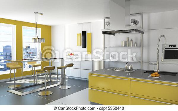 Modern yellow kitchen. - csp15358440