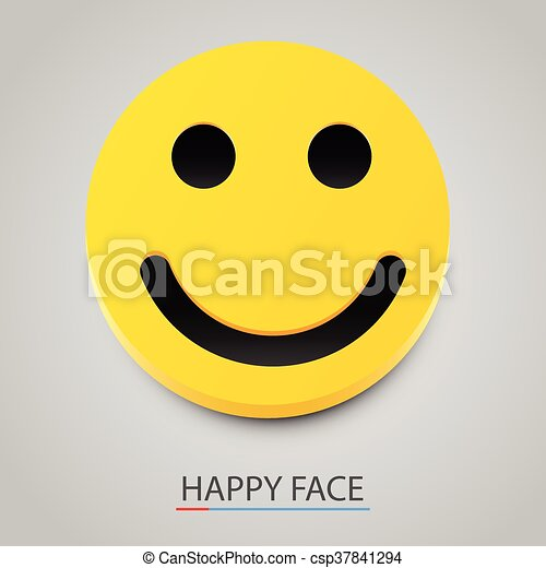 Modern yellow laughing happy smile. Vector - csp37841294