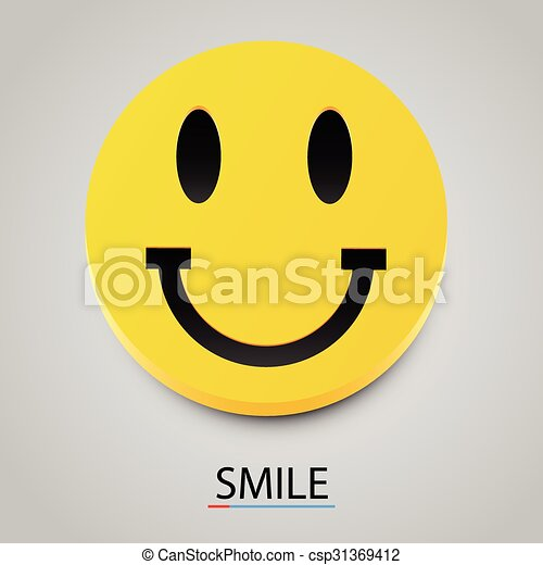 Modern yellow laughing happy smile. Vector - csp31369412