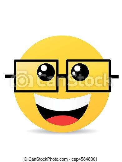 Modern yellow laughing happy smile - csp45848301
