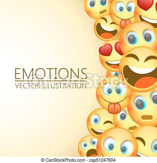 Modern yellow laughing three Emoji, Emotions. - csp51247604