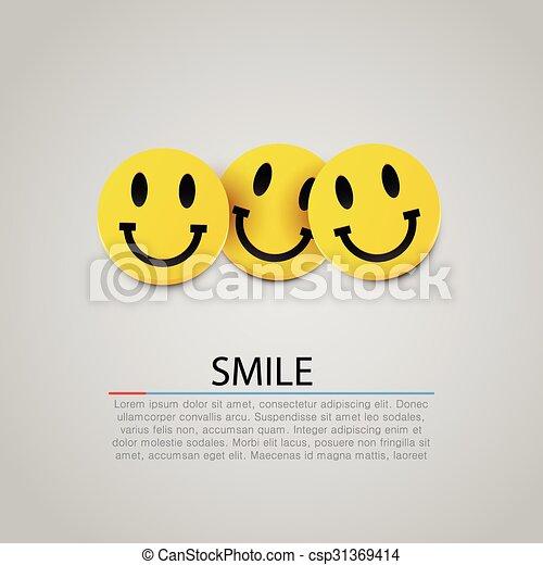 Modern yellow laughing three smiles. Vector - csp31369414