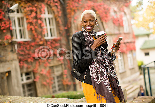 Modern young african american woman outdoor - csp46118041