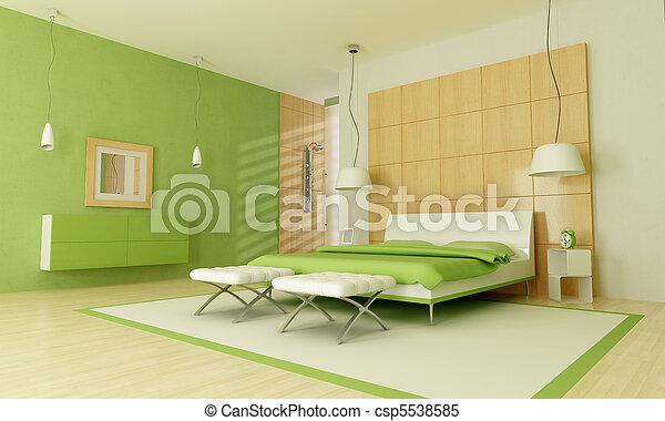Modern, zöld, hálószoba. Zápor, modern, zöld, -rendering,... Stock ...