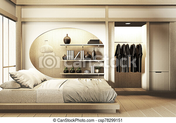 Modern Zen Peaceful Bedroom Japan Style Bedroom With Shelf Wall Design Hidden Light And Decoration Japanese Style 3d