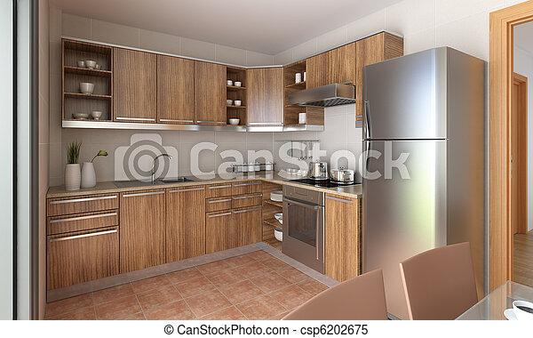 moderne, conception, cuisine - csp6202675