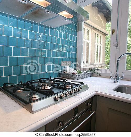 Moderne, cuisine. Turquoise, jardin, mur, moderne, tuiles,... image ...
