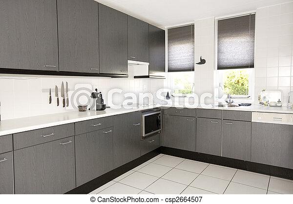 Moderne, cuisine. Gris, lumière du jour, moderne, blanc, cuisine.