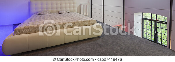 Moderne, entresol, slaapkamer. Panoramisch, moderne, aanzicht ...