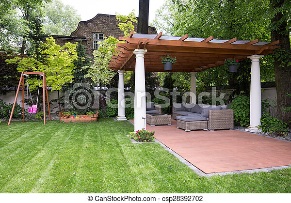 moderne, gazebo, jardin, beauté - csp28392702