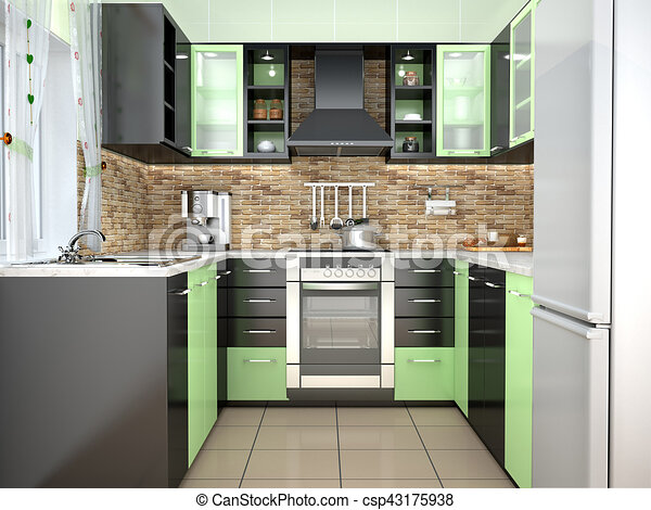 Moderne Illustration Couleurs Vert Intérieur Noir Cuisine 3d