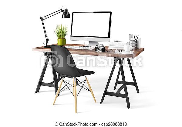 moderne, informatique, lieu travail, 3d - csp28088813