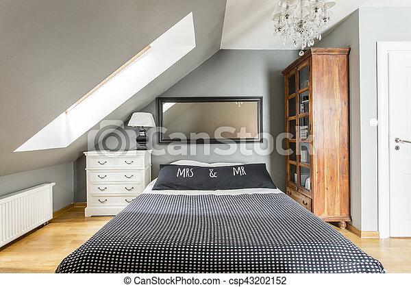 Moderne, king-size, lit, chambre à coucher. King-size, bois, moderne ...