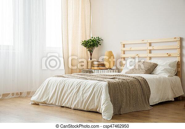 moderne, lit, chambre à coucher