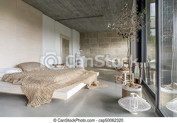 moderne, luxe, chambre à coucher