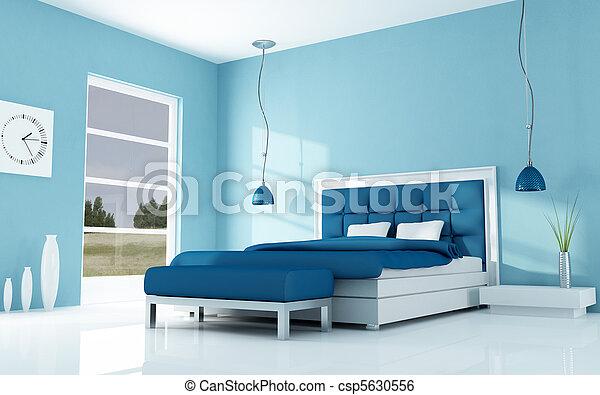 Moderne, minimaal, slaapkamer. Blauwe , villa, holyday ...