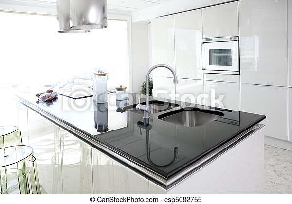 moderne, ontwerp, schoonmaken, interieur, witte , keuken - csp5082755