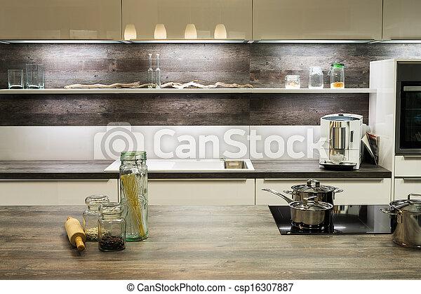Moderne, optique, bois, étagère, cuisine, pots, cuisine.