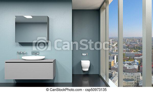 Moderne, rendre, intérieur, salle bains, pano, 3d.