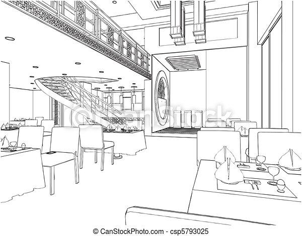 moderne, restaurant - csp5793025