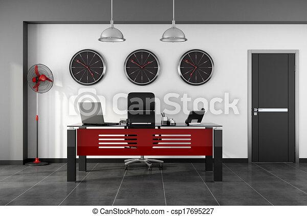 Moderne rouge noir bureau. porte bureau moderne rendre noir