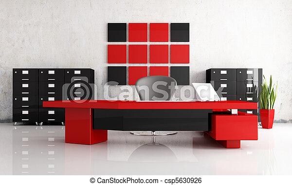 Moderne rouge noir bureau bureau moderne rendre rouge noir