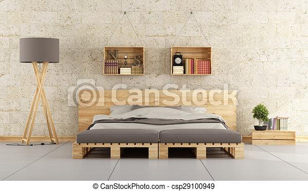 Moderne, soveværelse. Mur, moderne, seng, palle,... tegning - Søg ...