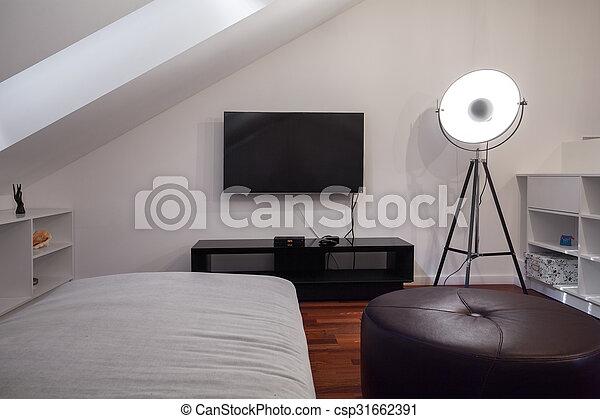 Woning, moderne, tiener, slaapkamer.