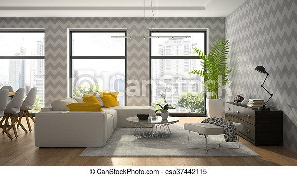 Modernes Zimmer, Tapete, Grau, übertragung, Design, Inneneinrichtung, 3d    Csp37442115