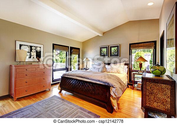 moderno, cama, lujo, dormitorio, tocador, nightstand. - csp12142778