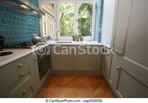 Moderno, cocina. Turquesa, jardín, pared, moderno, azulejos ...