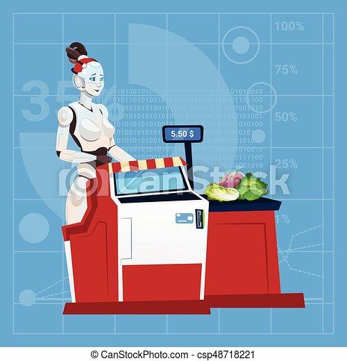 El robot moderno trabaja en el cajero del centro comercial en el concepto de tecnología artificial futurista de inteligencia artificial del supermercado - csp48718221