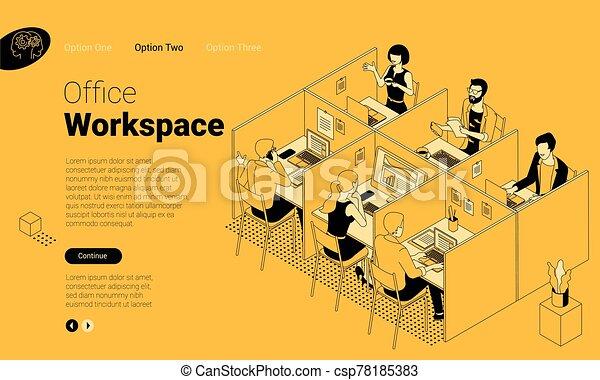 moderno, coworking, espacio, oficina - csp78185383