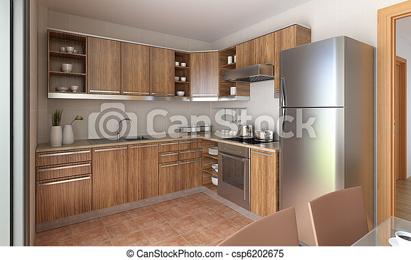 Diseño de cocina moderno. Diseño interior de una cocina ...
