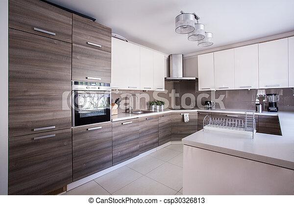 Moderno, diseño, cocina, amueblado. Amueblado, imagen, moderno ...