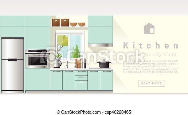 Diseño de interiores Modern Kitchen fondo 6 - csp40220465