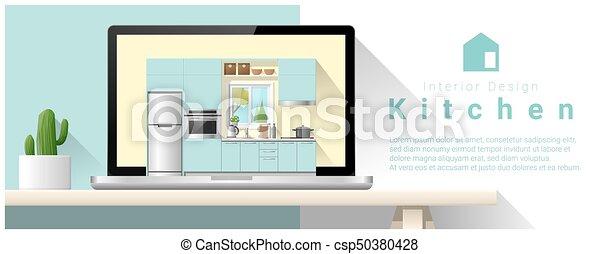 Diseño de interiores moderno de la cocina 6 - csp50380428