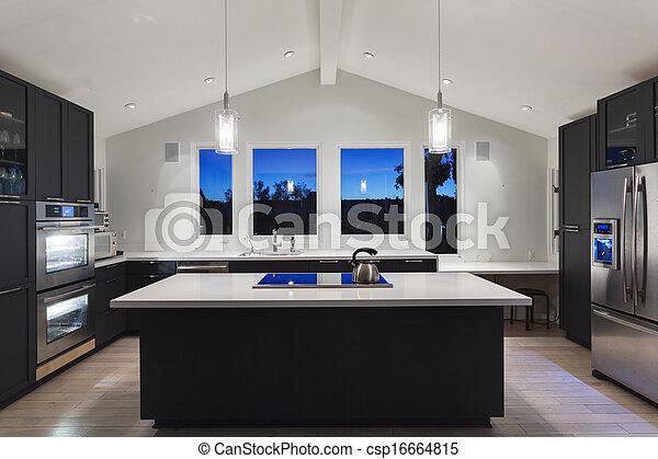 moderno, house., lusso, cucina - csp16664815